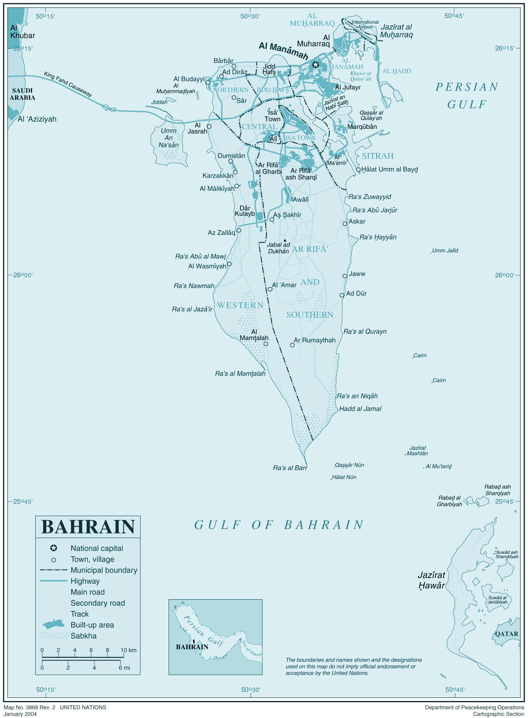 Bahrain large map