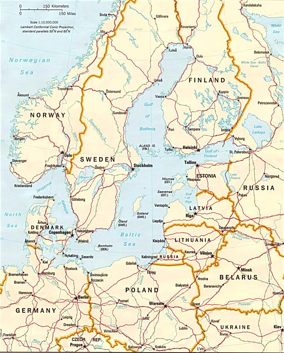 Baltic Sea Map large map