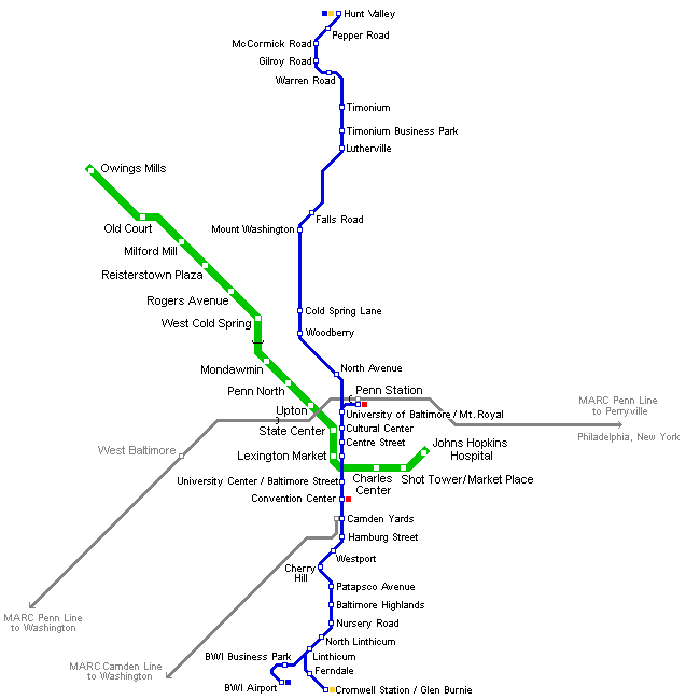 Baltimore Metro Map • Mapsof.net