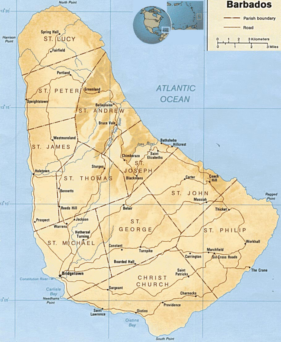 Barbados Map Mapsofnet