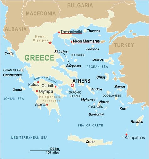 Basic Greek Map large map