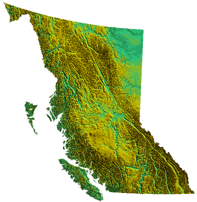 Physical Map Of British Columbia. British Columbia maps.