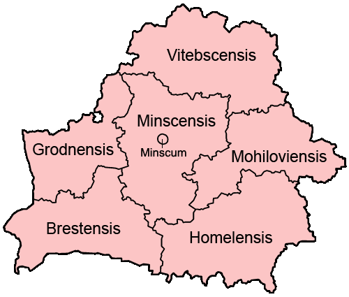 Belarus Provinces Latin large map