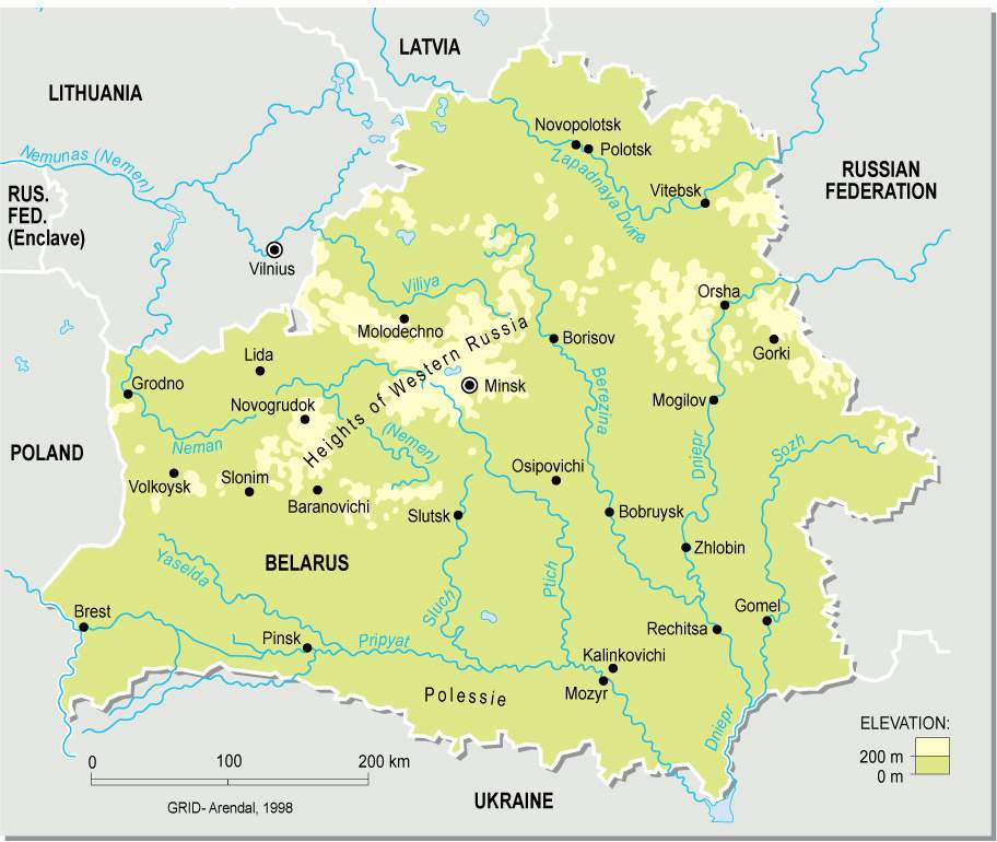 Belarus Topographic Map large map