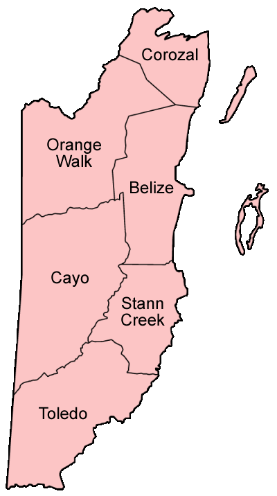 Belize Districts Named large map