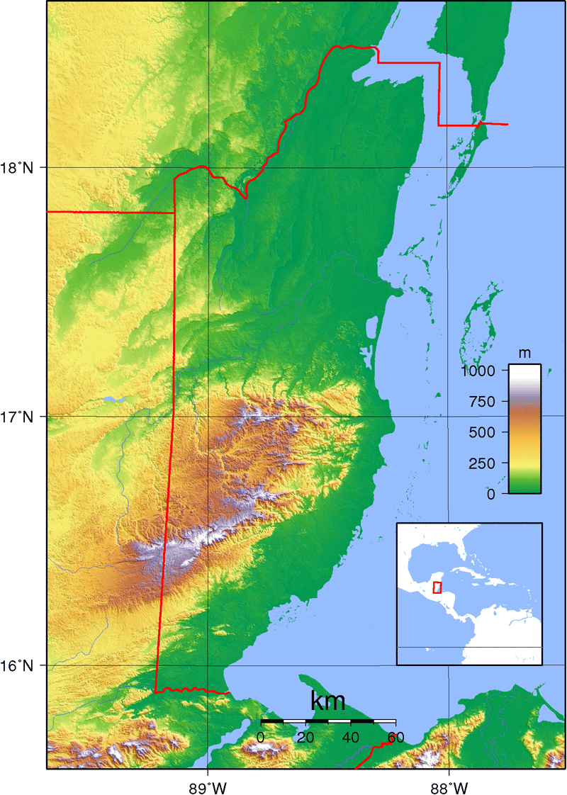 Belize Topography large map