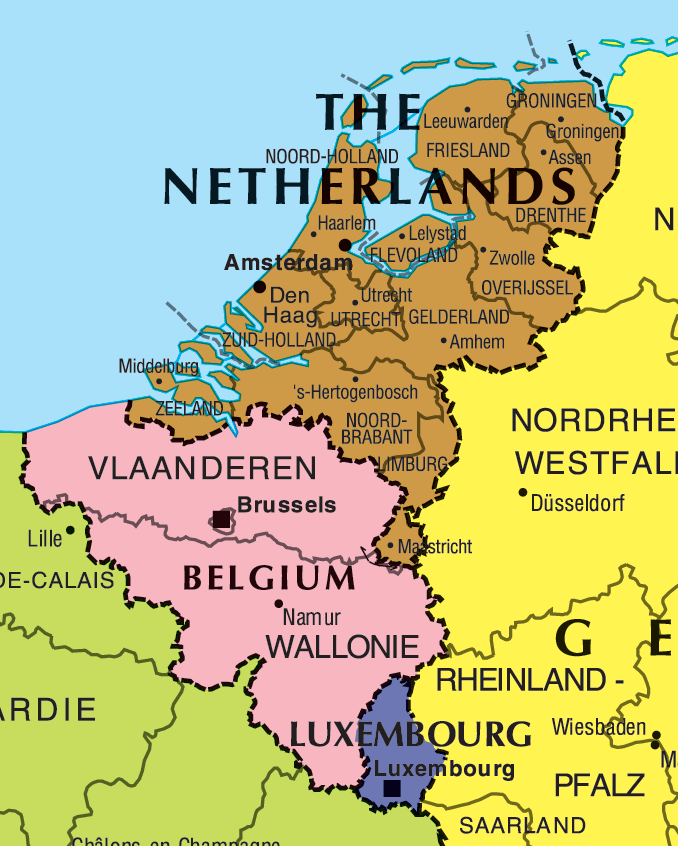 benelux map large map