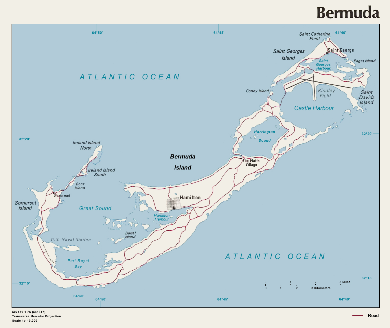 Bermuda Political Map large map