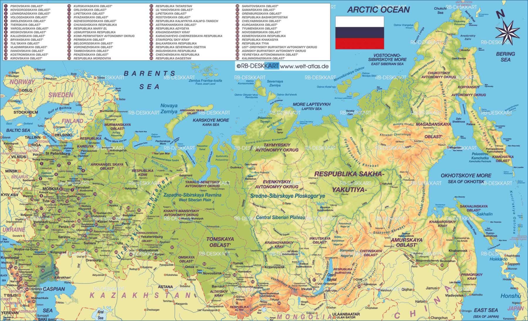 Big Map of Russia large map