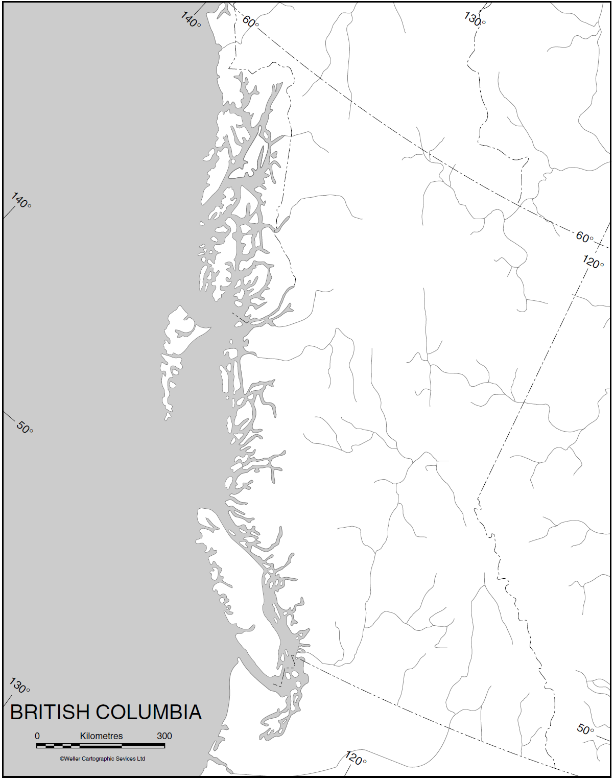 Blank Map of British Columbia large map