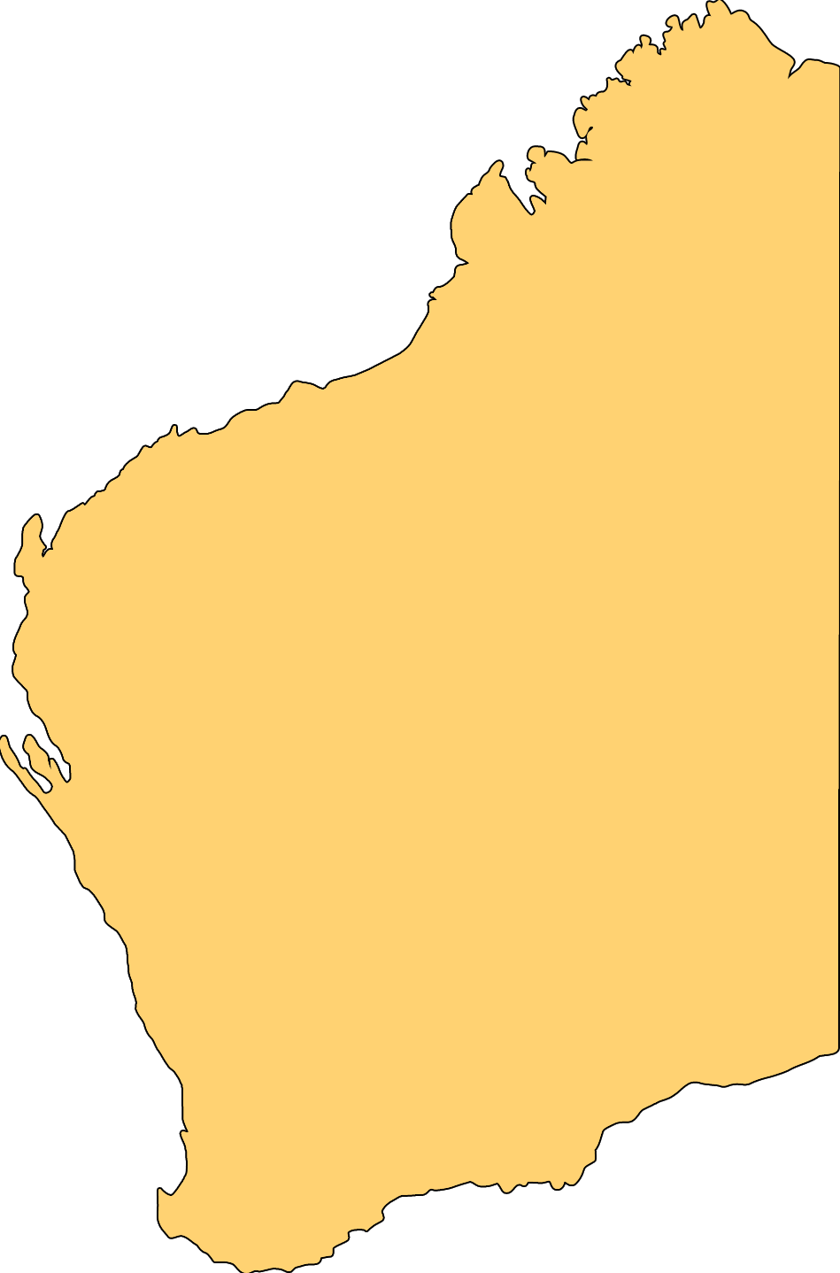 Blank Map of Western Australia • Mapsof.net