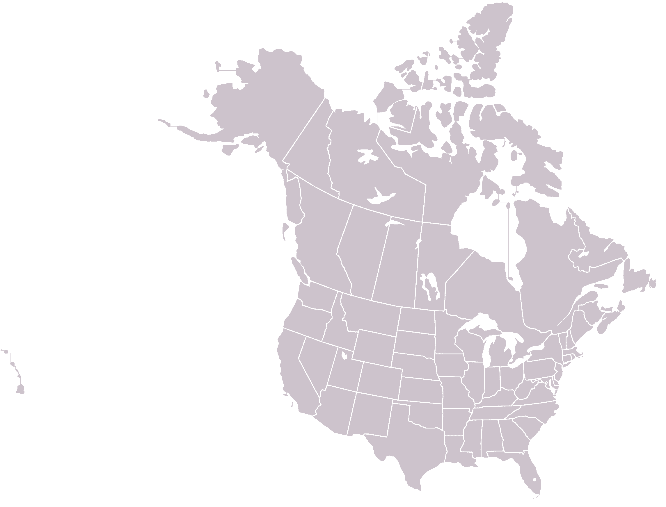 Political Map Of North America Nations Online Project Of North - Us map states initials
