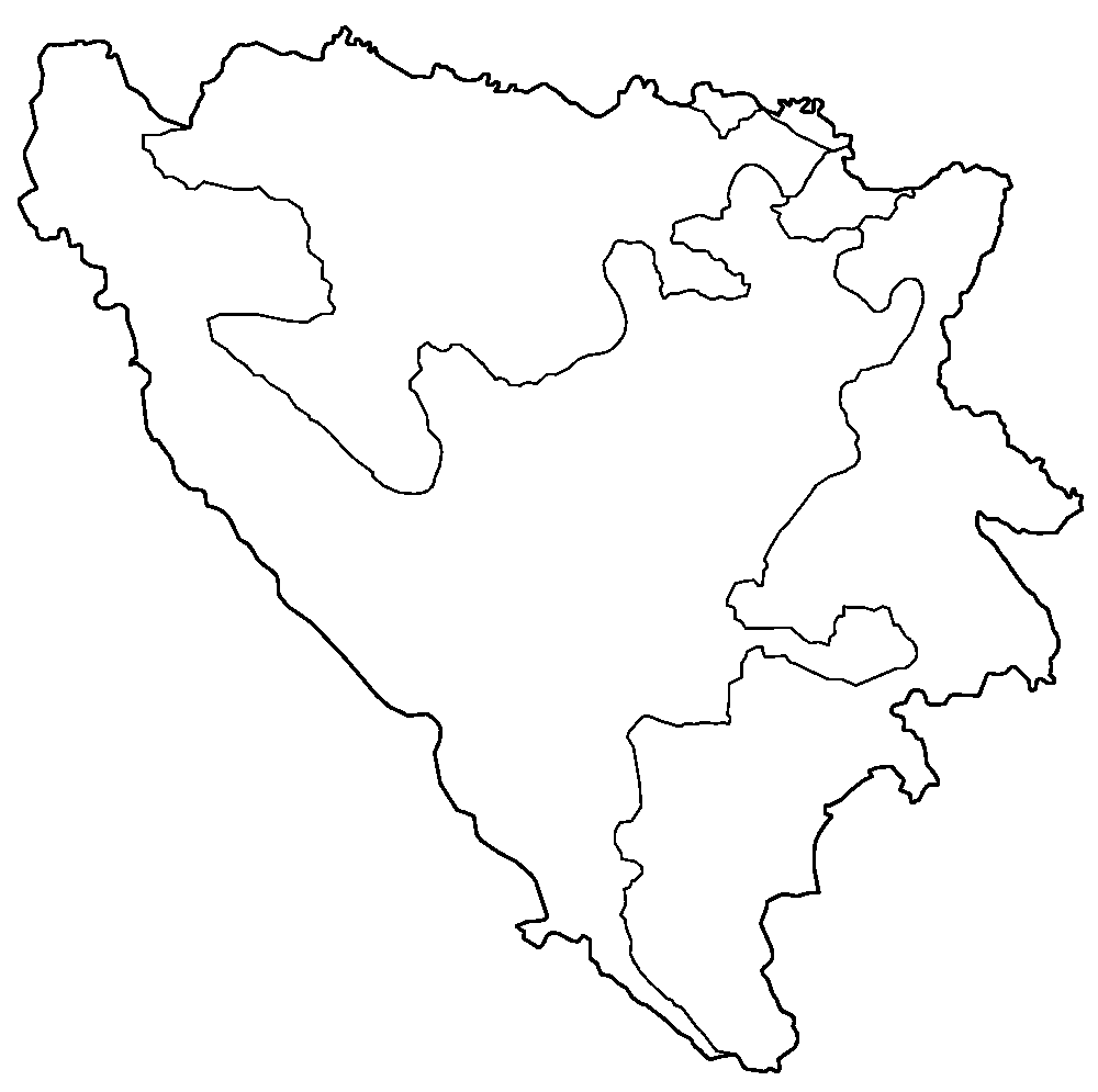 Bosnia And Herzegovina Districts Blank large map