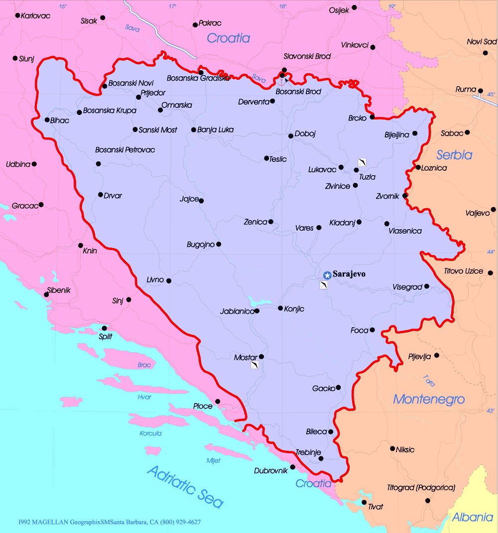 Bosnia Herzegovina Political Map large map