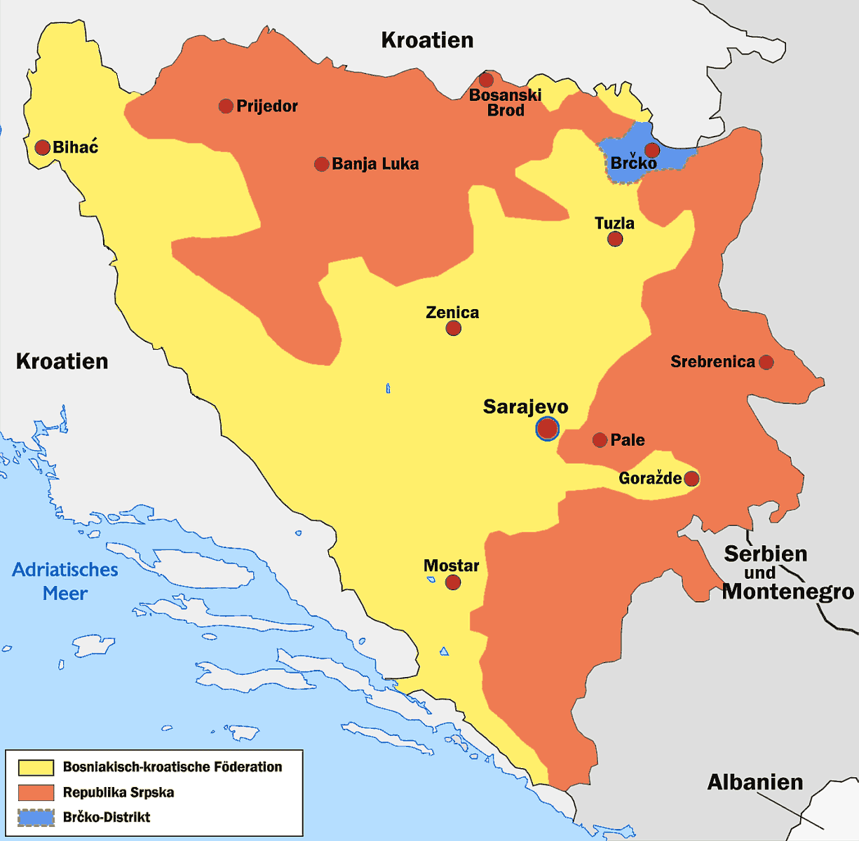 Bosnien Herzegowina X Mapsofnet - Bosnia and herzegovina map