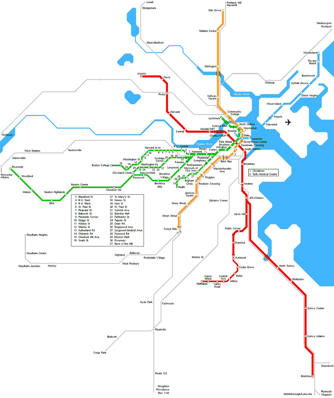 Boston Metro Map large map