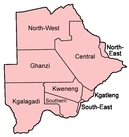 Botswana Districts Named Mapsofnet