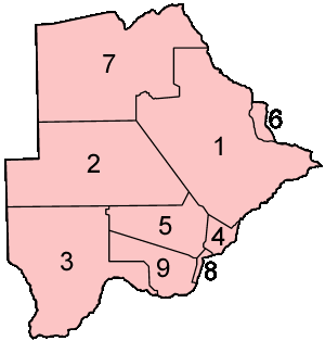 Botswana Districts Numbered large map
