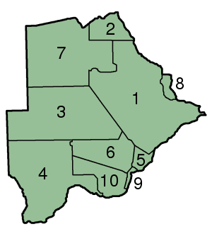 Botswana Districts Numbered 300px large map