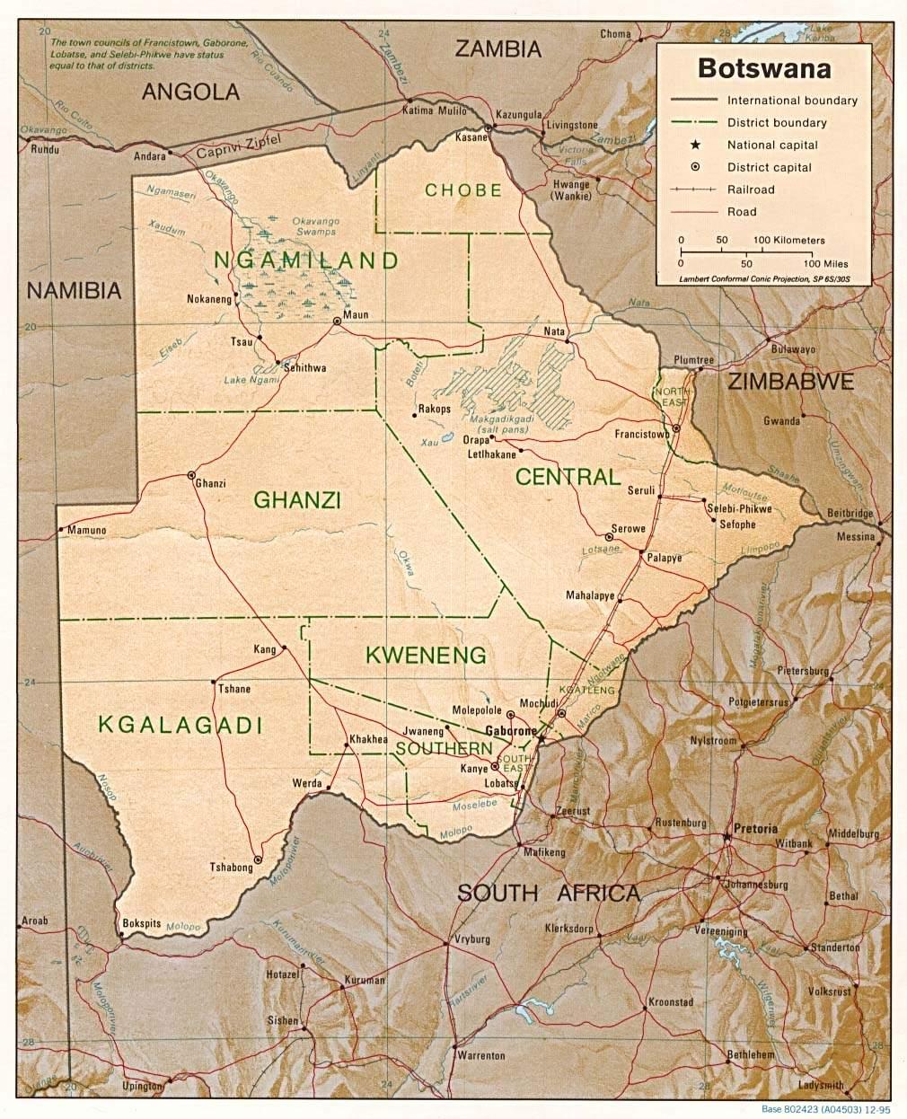 Botswana Map large map