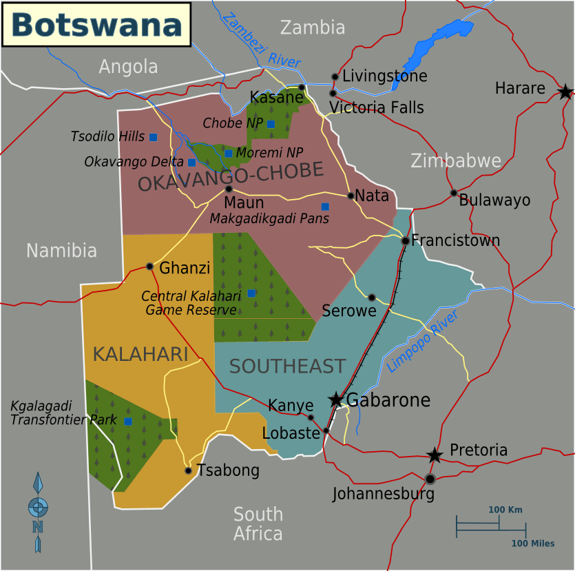 map of botswana africa. hot map southern africa map of