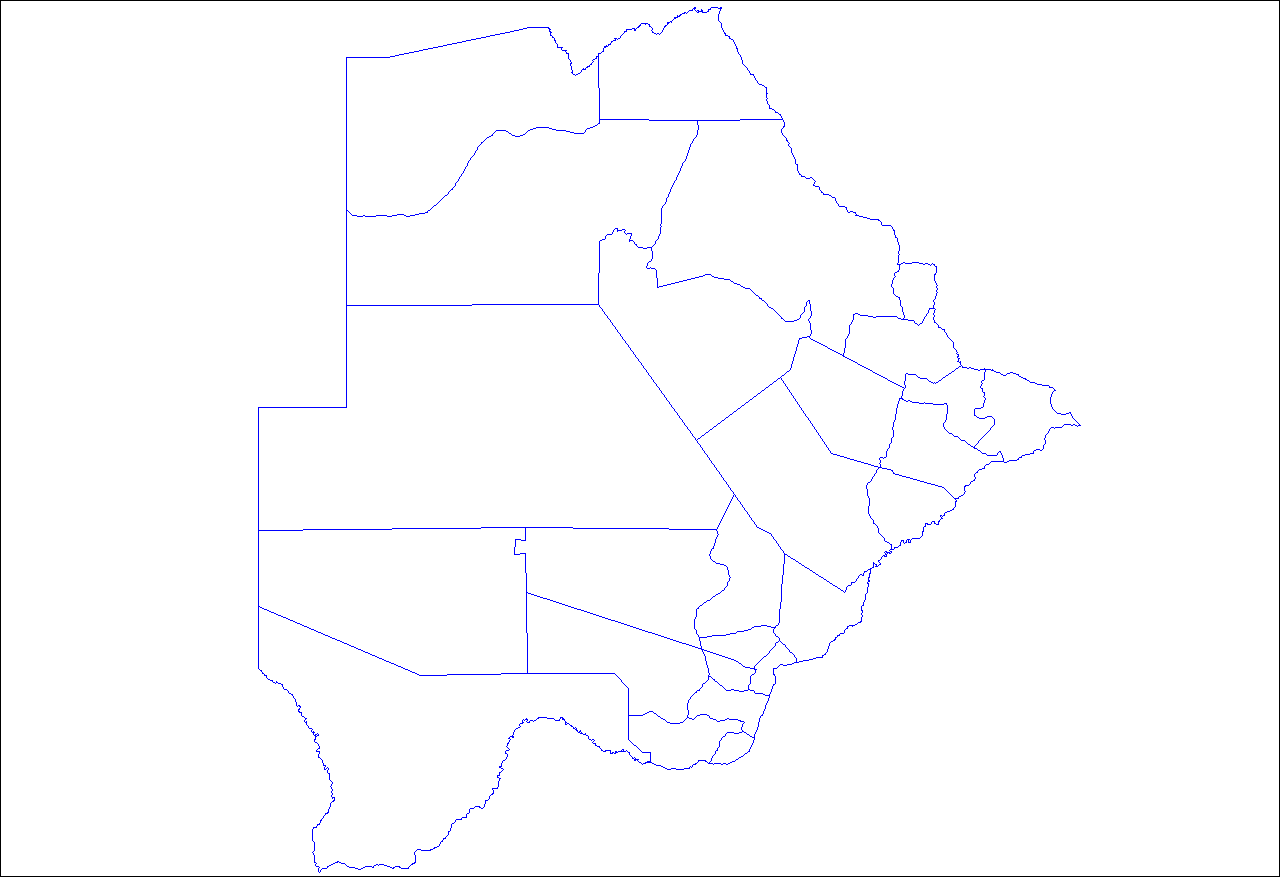 Botswana Sub Districts large map
