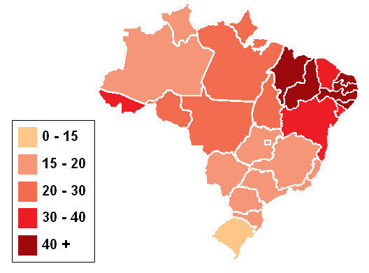 Brazilian States By Infant Mortality Mapsofnet - Brazil states map
