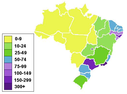 Brazilian States By Population Density Mapsofnet - Brazil states map
