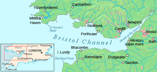 Bristol On The Map Of England.Bristol Channel Detailed Map Mapsof Net