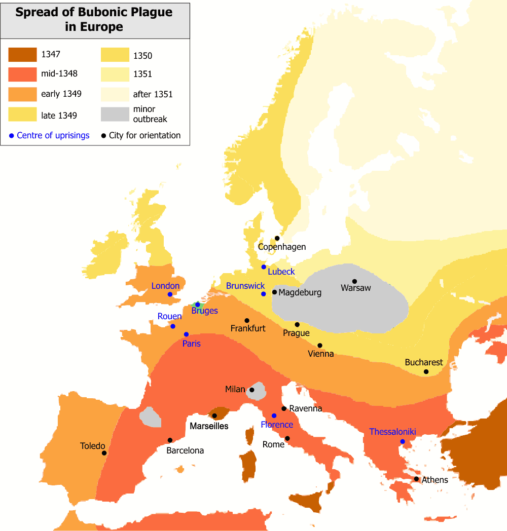 The cultural spiritual and economic changes caused by the bubonic plague in europe