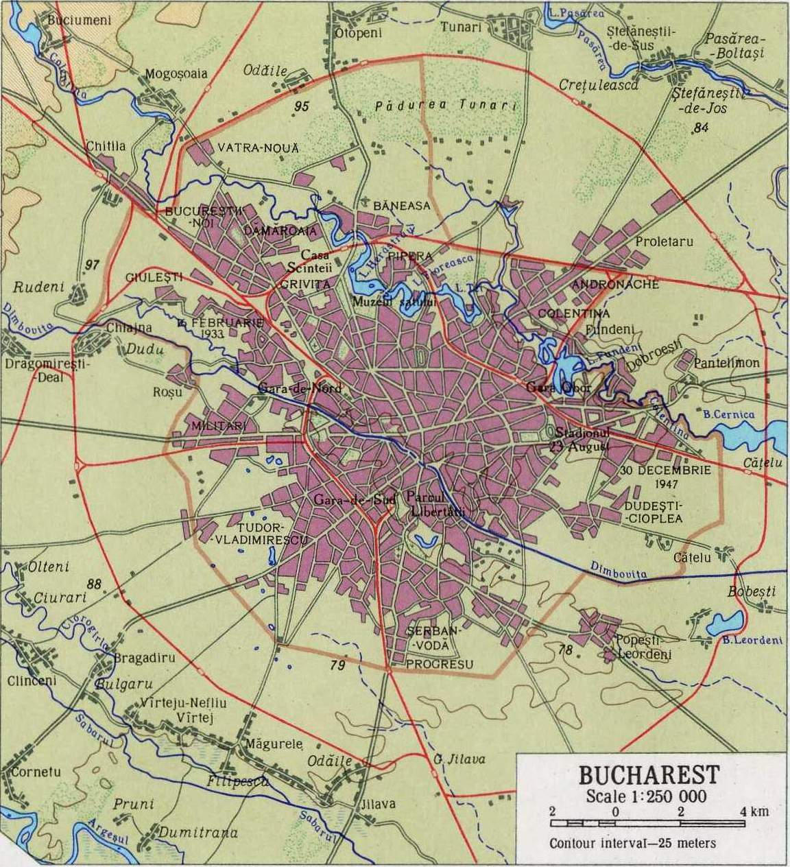 Bucharest In the Sixties large map