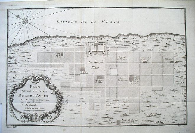 Buenos Aires Historic Map 1756 large map