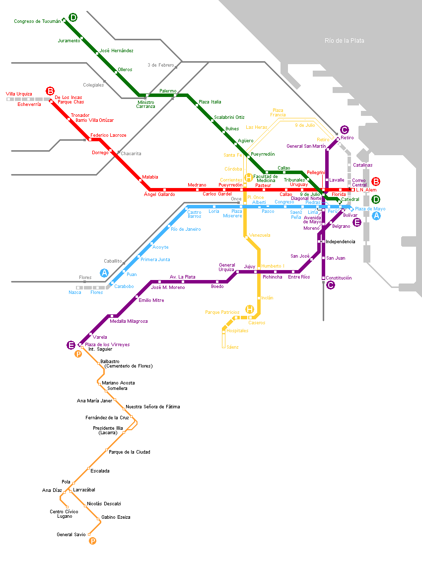 Buenos Aires Metro Map large map