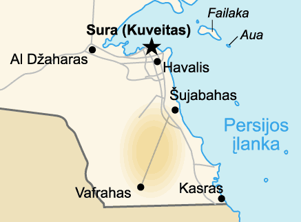 Burgan Field  Map of Kuwait (lithuanian) large map
