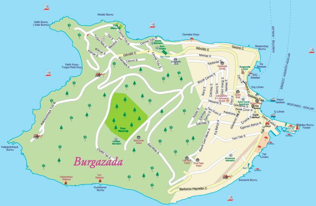 Burgazada large map