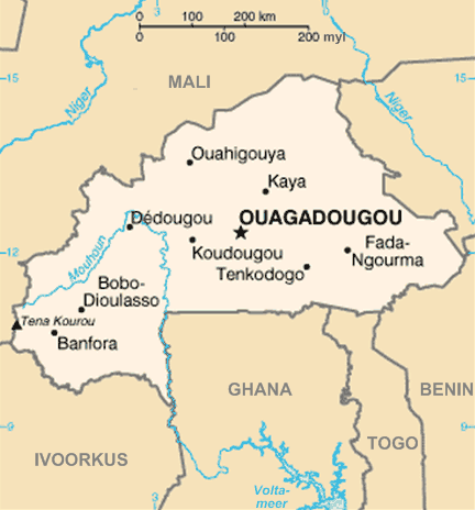 Burkina Faso Kaart large map