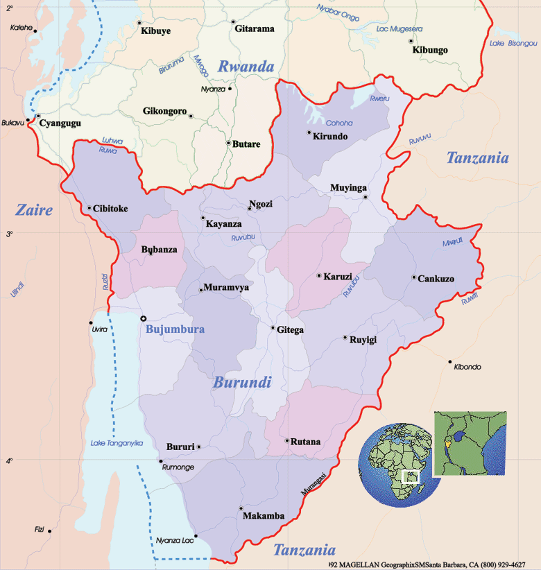 Burundi Political Map large map