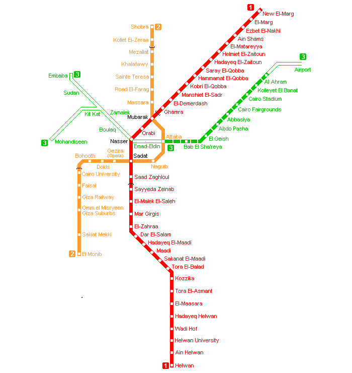 Cairo Metro Map large map