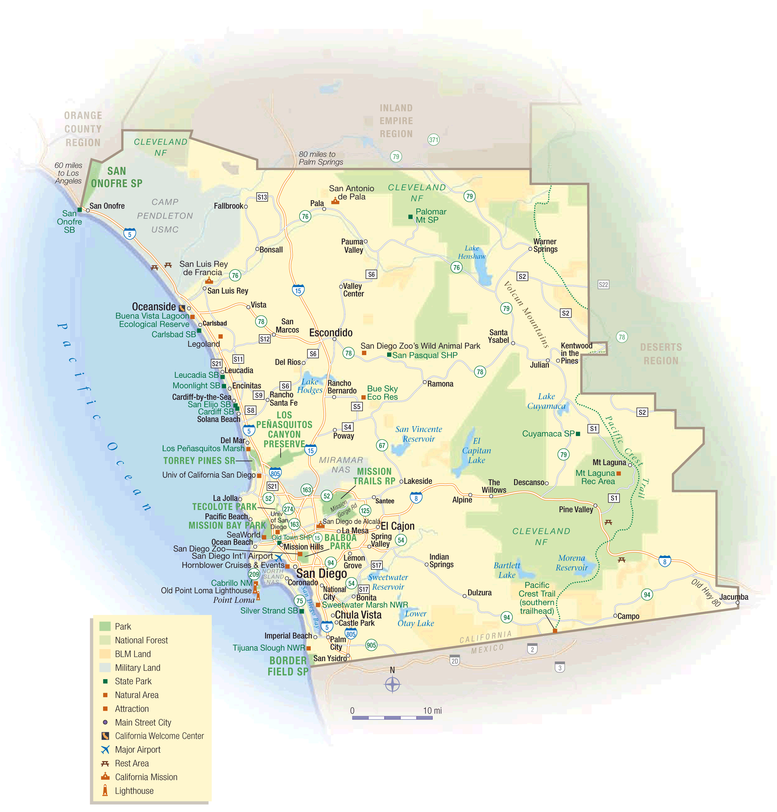 California Sandiego Map large map