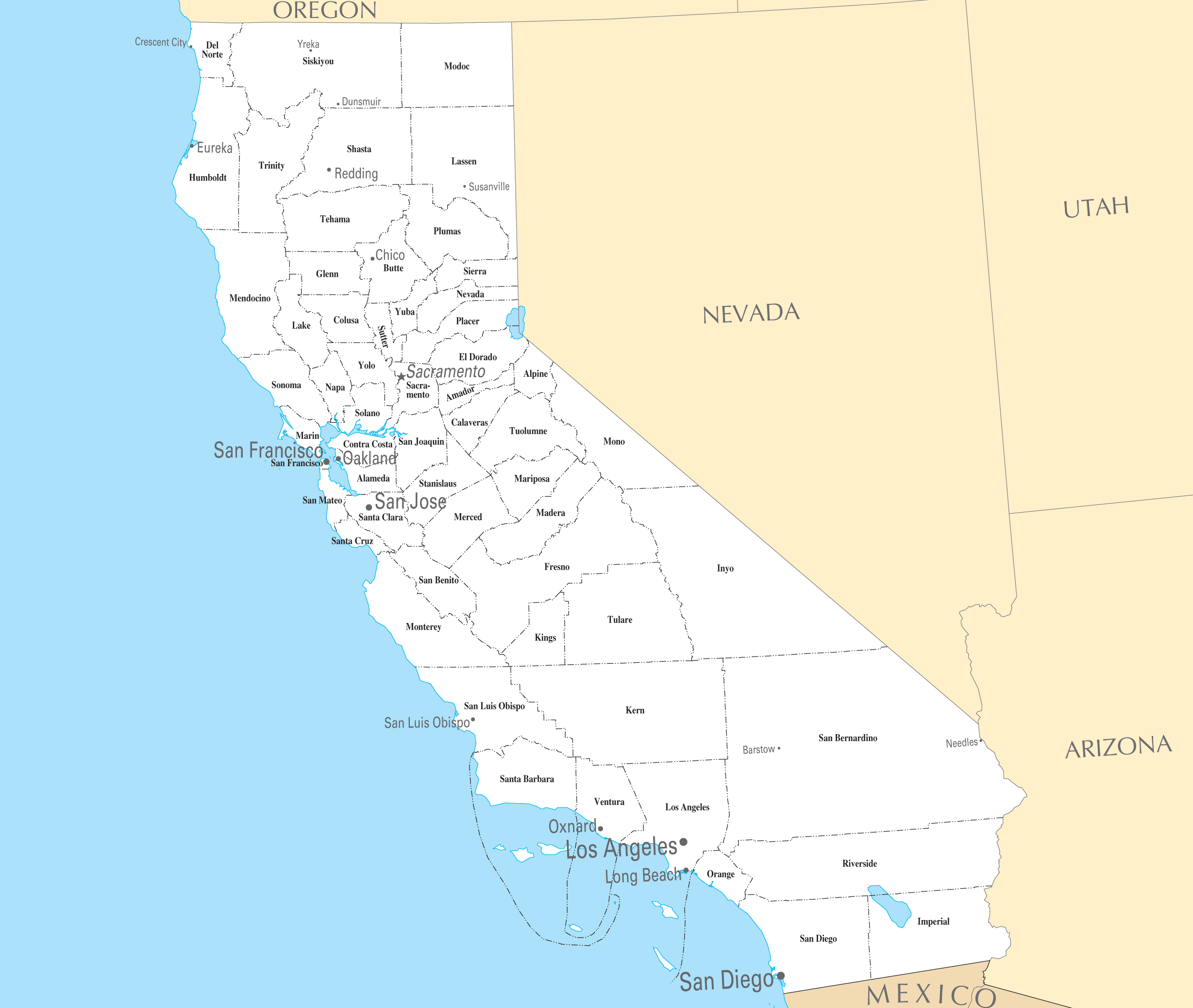 California Cities And Towns large map