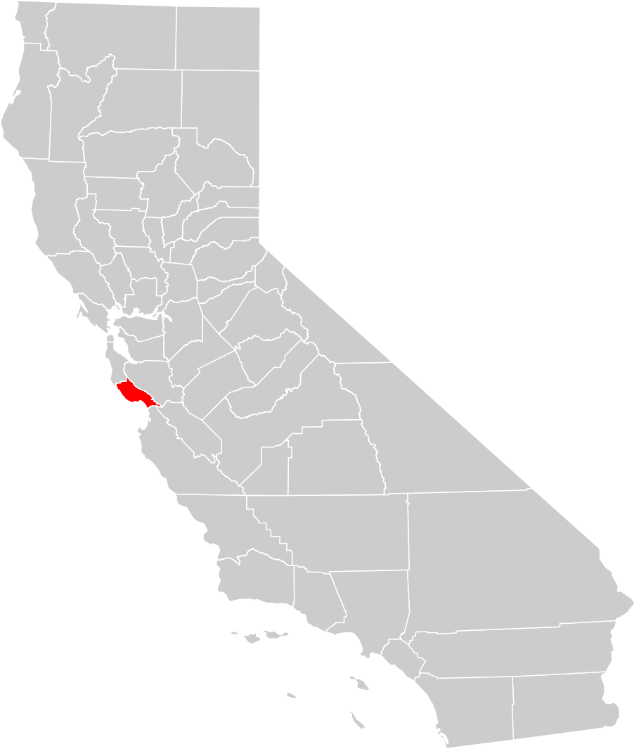 California County Map santa Cruz County Highlighted Mapsofnet