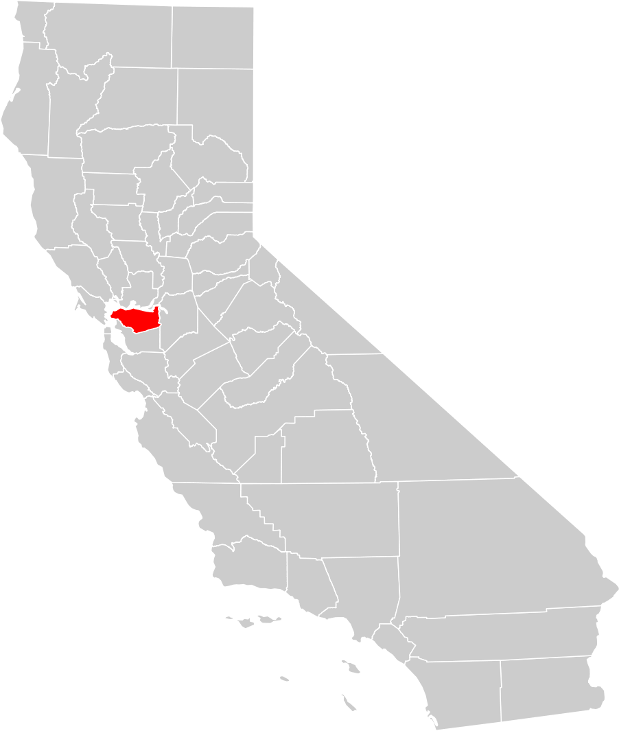 Image of: California County Map Contra Costa County Highlighted Mapsof Net