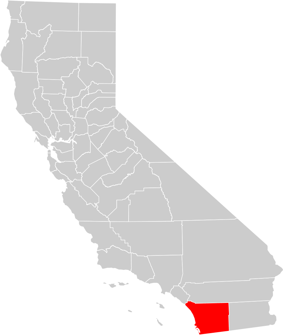 California County Map (san Diego County Highlighted) • Mapsof.net