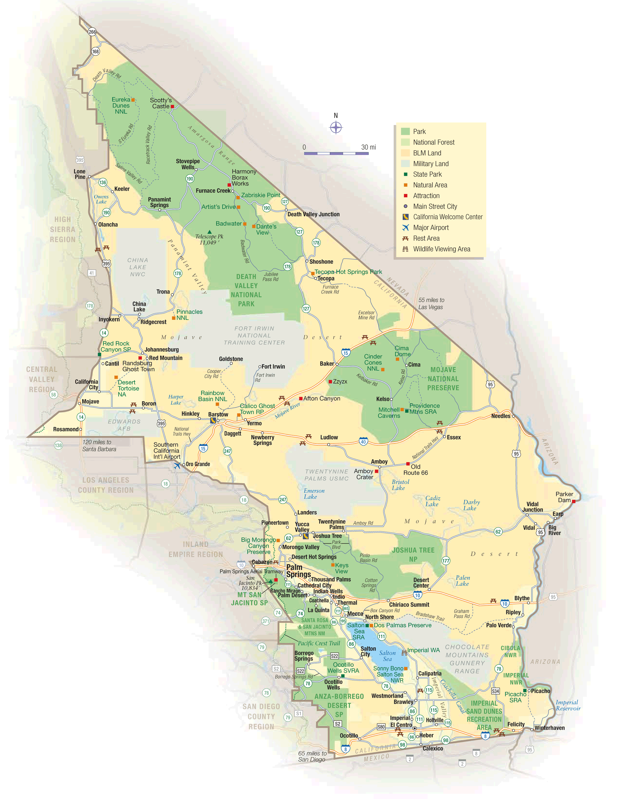 California Map Deserts large map