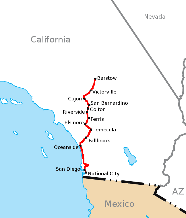California Southern Railroad Route Map large map