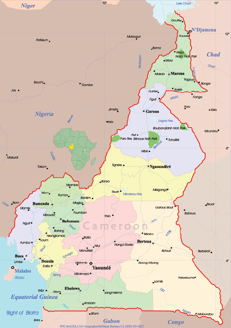 Cameroon Political Map large map