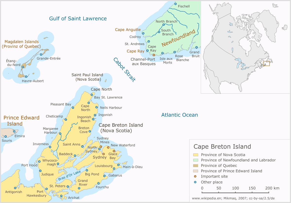 Cape Breton Island large map