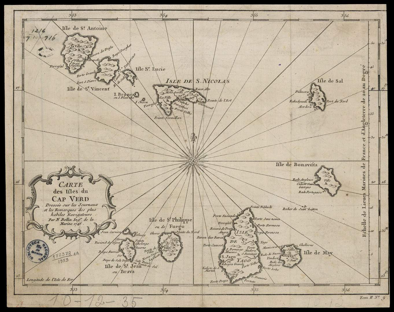 Cape Verde 1746 Map large map