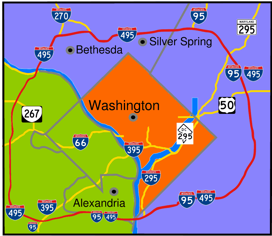 Capital Beltway Map Color • Mapsof.net