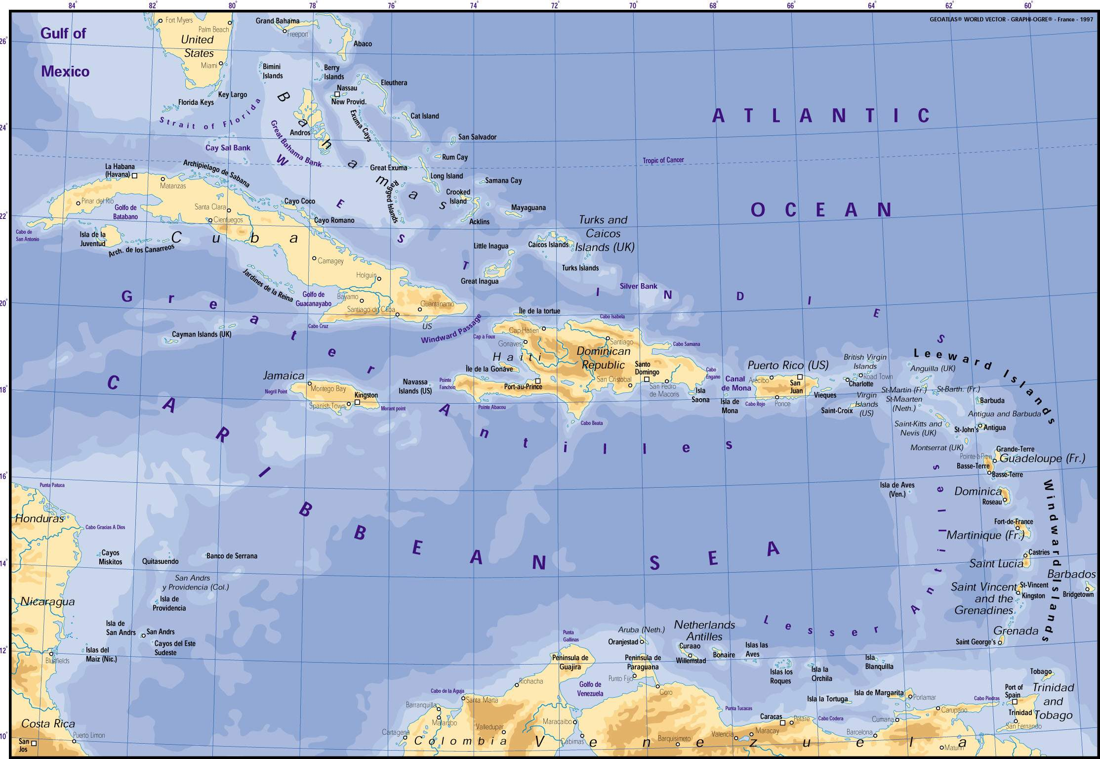Caribbean Map Mapsofnet